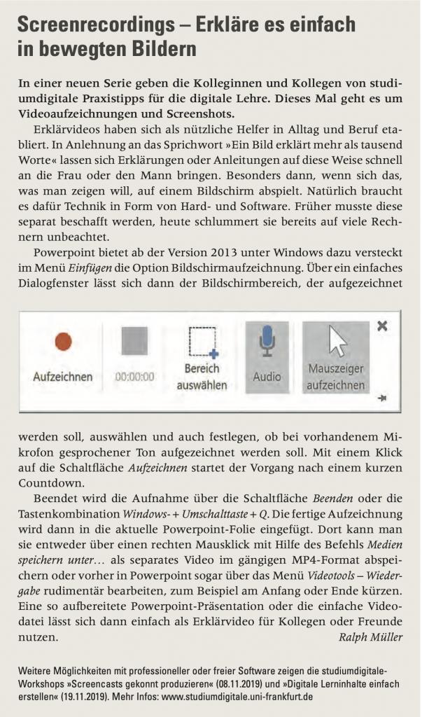 """Der Text """"Screenrecordings - Erkläre es einfach in bewegten Bildern"""" von Ralph Müller. Goethe Spektrum 3.19. Ausgabe September, Oktober, November. https://www.goethe-business-school.de/fileadmin/user_upload/Files/News/Artikel_im_GoetheSpektrum_092019.pdf"""