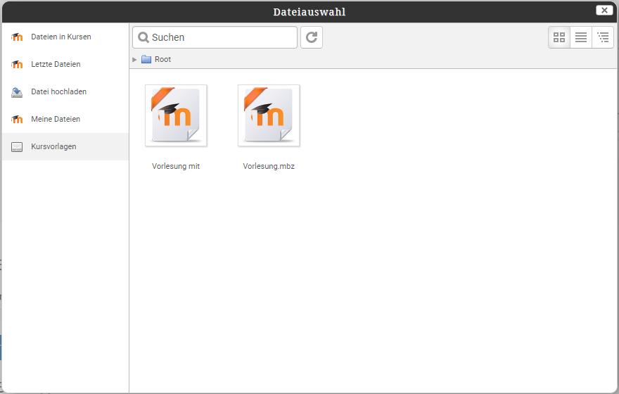 Dateiauswahl mit Repository Kursvorlagen