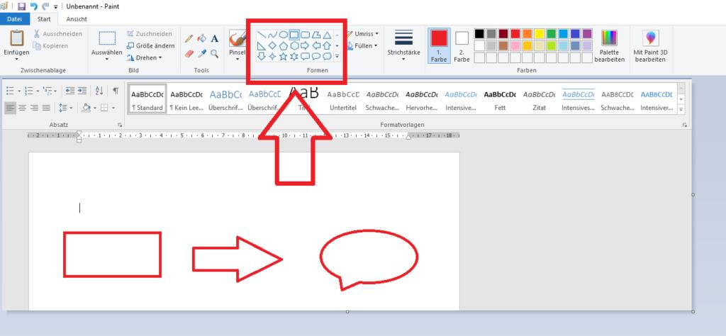 Die Auswahl der Formen in dem Programm Paint ist mit einem roten Kasten und Pfeil hervorgehoben.